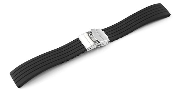 腕時計 ベルト 16mm 18mm 20mm 22mm 24mm ラバー 黒 三つ折れ プッシュ式 ダブルロック バックル シルバー mr02-bk-s 腕時計 バンド 交換