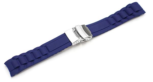 腕時計 ベルト ラバー 弓カン 20mm 22mm ネイビー 紺 三つ折れ プッシュ式 ダブルロック バックル シルバー yr-nv-s 腕時計 バンド 交換