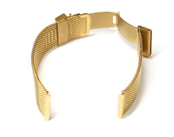 腕時計 ベルト 16mm 18mm 20mm 22mm ステンレス ミラレーゼ メッシュ イエローゴールド イージークリック 三つ折れプッシュ式バックル mm06-p-y-c