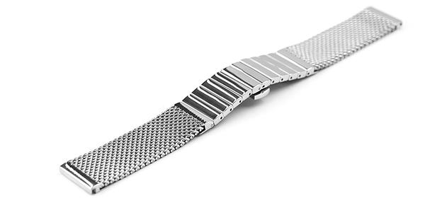 腕時計 ステンレス ベルト 20mm 22mm ミラレーゼ メッシュ コンビ プッシュ式 Dバックル シルバー dc-m001-s バンド 交換