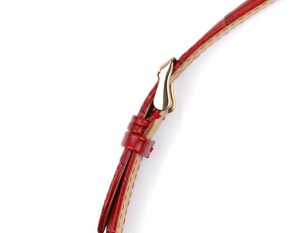 腕時計 レザー ベルト 16mm 17mm 18mm 19mm 20mm 21mm 22mm 24mm 赤 レッド クロコダイル型押し 牛革 ピンバックル ピンクゴールド l001re-n-p 腕時計 バンド 交換