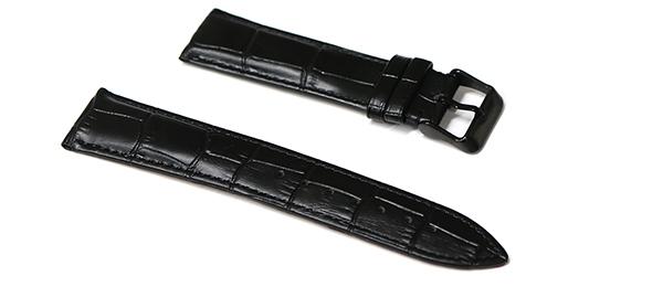 腕時計 ベルト 21mm 22mm 23mm 24mm レザー クロコダイル型押し 黒 革  sl001bk-n-b