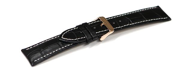 腕時計 ベルト 23mm レザー クロコダイル型押し 黒 革 白 ステッチ sl001bk-n-wh-p