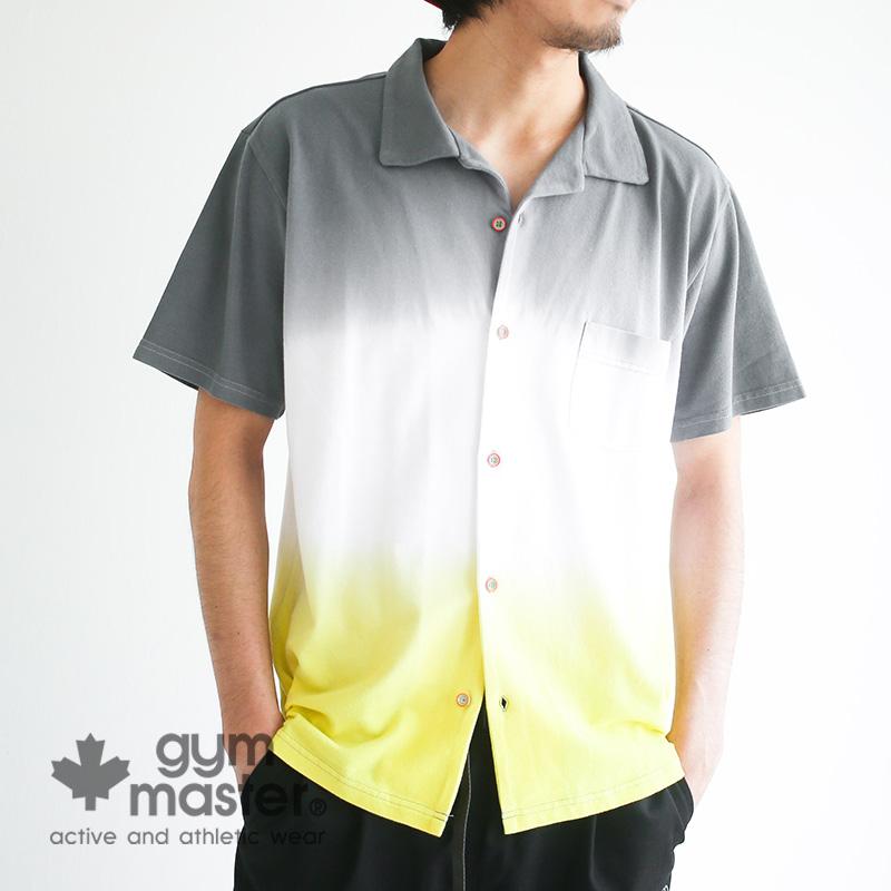 gym master(ジムマスター)公式 グラデーション鹿の子シャツ|メンズ|レディース|ユニセックス|鹿の子|グラデーション|カラフル|半袖シャツ|開襟シャツ|胸ポケ付き|トップス|G257618