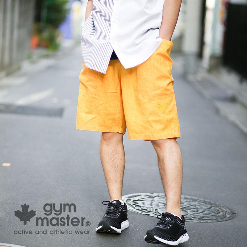 gym master(ジムマスター) 公式レーヨン麻 ガーデニングショーツジムマスター|麻|レーヨン|ショートパンツ|短パン|半ズボン|メンズ|レディース|膝上|大きいサイズ|無地 |ビックシルエット|夏|リネン G257646