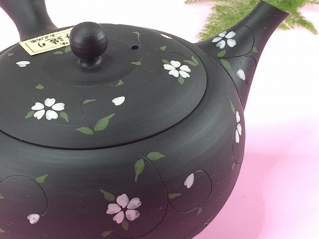 [Traditional craftsman who made] Tokoname-yaki black mud pot painting cherry blossom pattern