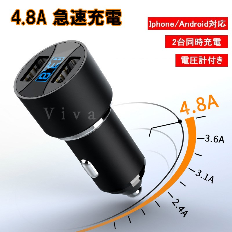 シガーライターソケット USBコンセント 高級品 スマホチャージャー スーパーSALE 特別価格 電圧計付き TS032 Android対応 Iphone 送料無料カード決済可能 同時充電可能 2ポート