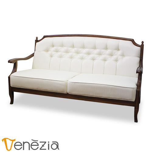 ベネチア 2.5Pソファー(ホワイト) Venezia 2.5人掛けソファー アンティーク調 完成品 東海家具