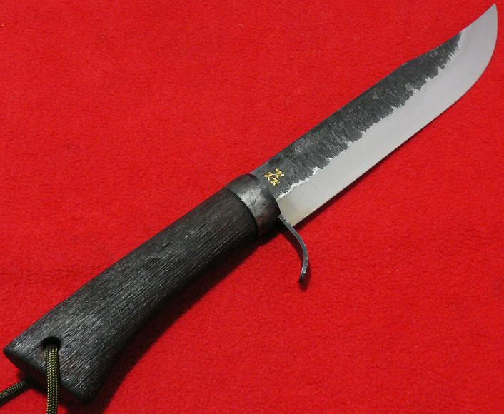 ■【送料無料】剣ナタ 青鋼 150mm 黒柄本革サック付 鉈 猪狩
