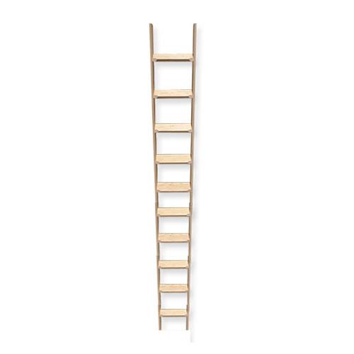 ■室内用木製はしご10段 無塗装仕上 全長270cm 【メーカー直送】 梯子 ハシゴ 幅38cm レッドパイン材