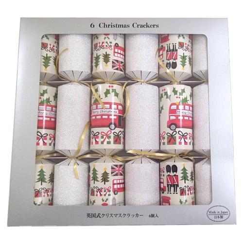 【E6S】 英国式クリスマスクラッカー バス柄&銀ザラザラ (6本入) [英国式 両引きクラッカー クリスマスクラッカー クリスマスボンボン パーティー お祝い イベント パーティークラッカー] u89