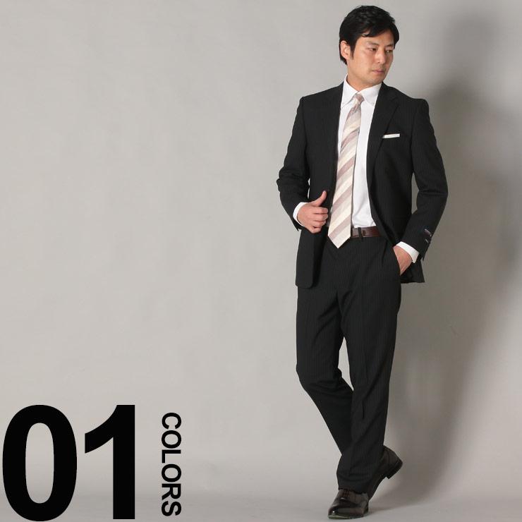 スーツ メンズ HYBRIDBIZ ハイブリッドビズ 2WAYストレッチ パンツウォッシャブル ピンストライプ シングル 2パンツ ビジネス スーツ ブラック AB体 BB体