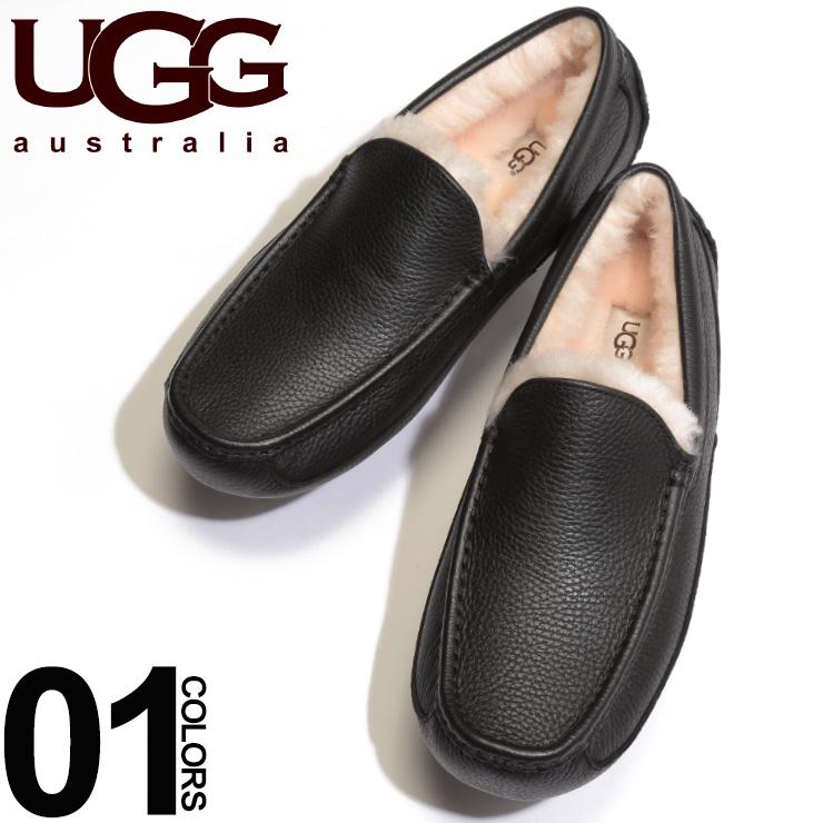 UGG Australia アグ オーストラリア レザー ロゴ型押し モカシン ASCOTブランド メンズ 男性 カジュアル ファッション 靴 シューズ ローファー レザー スリッポン UGG5379B