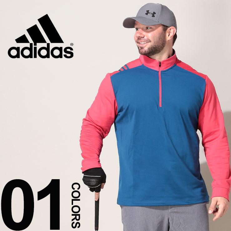 10%OFFクーポンあり■大きいサイズ メンズ adidas アディダス 配色切り替え 1/4ジップ 長袖 プルオーバー GOLF カジュアル トップス スポーツ ストレッチ トレーニング ゴルフ EI0921