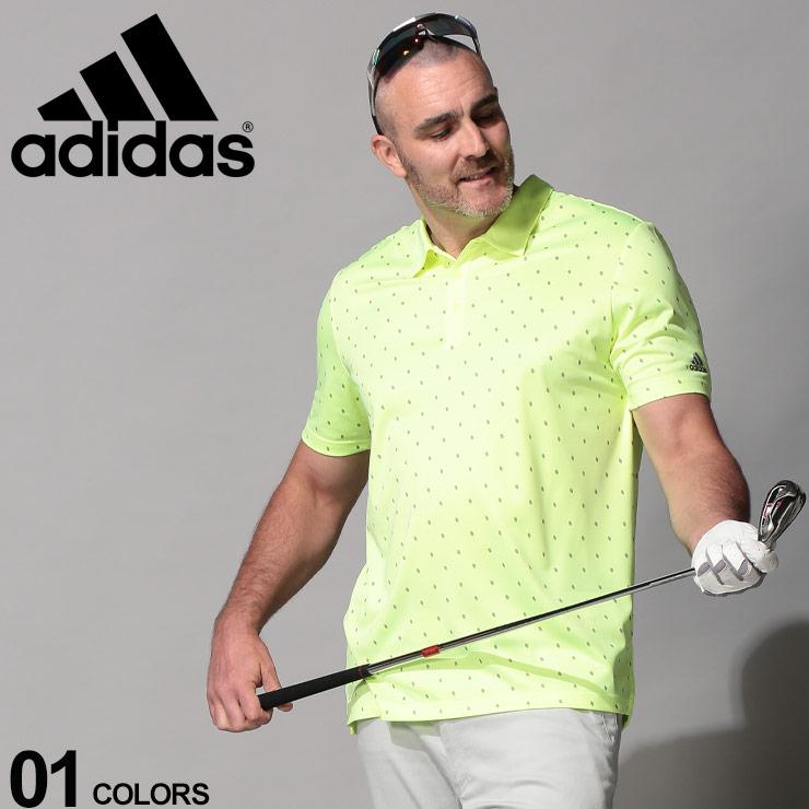 10%OFFクーポンあり■大きいサイズ メンズ adidas (アディダス) UPF50 ドットプリント 半袖 ゴルフ ポロシャツ YELLOW カジュアル トップス シャツ ポロ UVカット スポーツ 春夏 DQ2298