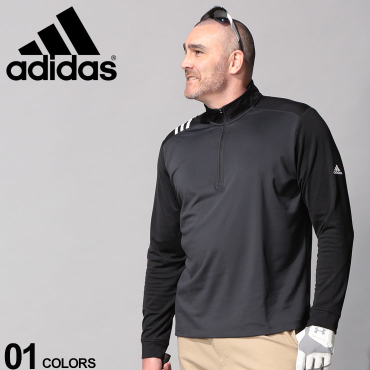 最大2,000円OFFクーポンあり 大きいサイズ メンズ adidas (アディダス) スリーストライプ 1/4ジップ 長袖 ゴルフシャツ カジュアル トップス シャツ スタンド スポーツ シンプル DQ2176
