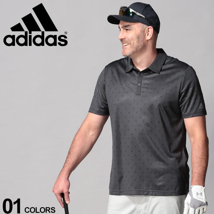 10%OFFクーポンあり■大きいサイズ メンズ adidas (アディダス) UPF50 ドットプリント 半袖 ゴルフ ポロシャツ BLACK カジュアル トップス シャツ ポロ UVカット スポーツ 春夏 DZ0540