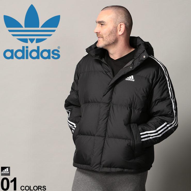 大きいサイズ メンズ adidas (アディダス) スリーライン フード着脱 フルジップ ダウンジャケット カジュアル アウター ダウン ブルゾン スタンド 防寒 秋冬 EH3972