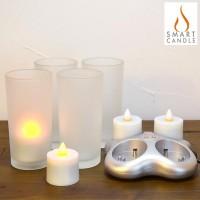 ELUX(エルックス) SMART CANDLE スマートキャンドル Glass Rechargeble Candle プラチナ・4ピース充電キャンドルセット SC2101【05P03Dec16】