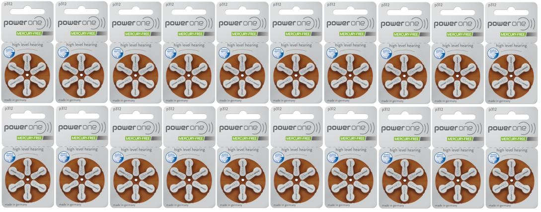 通信販売 パワーワン補聴器電池送料無料 長い歴史を持つドイツ製補聴器用電池 パワーワン 値下げ power one補聴器空気電池PR41 312 120粒 20パック