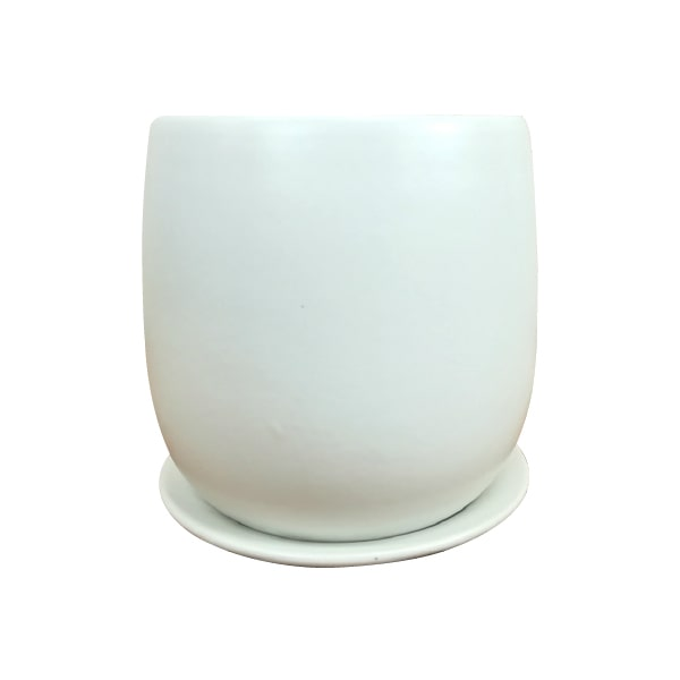 球体型でかわいい真っ白な植木鉢 おしゃれ 陶器鉢 白 スタイリッシュ 新作製品、世界最高品質人気! インテリア 植木鉢 GP101-170 17cm 受け皿付き 毎週更新 5.5号 鉢底穴有り 質感の良いマットホワイトの植木鉢