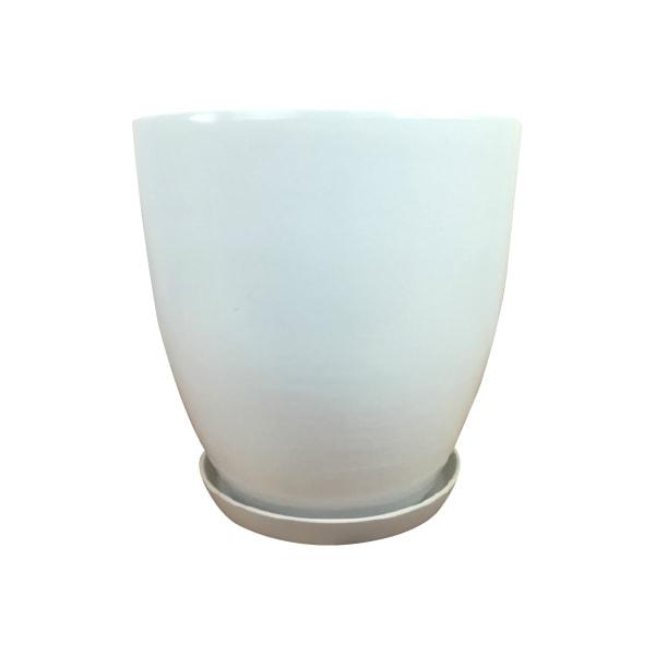 植木鉢 おしゃれ シンプルポット KT222-385 13号(38.5cm) / 陶器鉢 白 大型 軽い