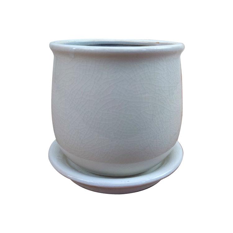 貫入のひび割れがきれい!おしゃれな植木鉢。 植木鉢 おしゃれ シンプルポット MM003-130 4号(13cm) / 陶器鉢 アンティーク シャビー