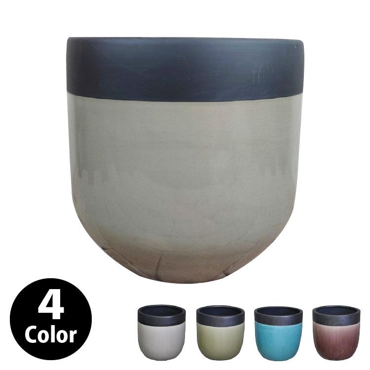 植木鉢 おしゃれ 貫入ヒビが美しいツートンカラーの鉢カバー MM305-310 10号(31cm) / 陶器鉢 スタイリッシュ 大型
