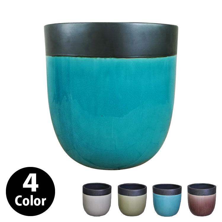 植木鉢 おしゃれ 貫入ヒビが美しいツートンカラーの鉢カバー MM305-390 13号(39cm) / 陶器鉢 スタイリッシュ 大型