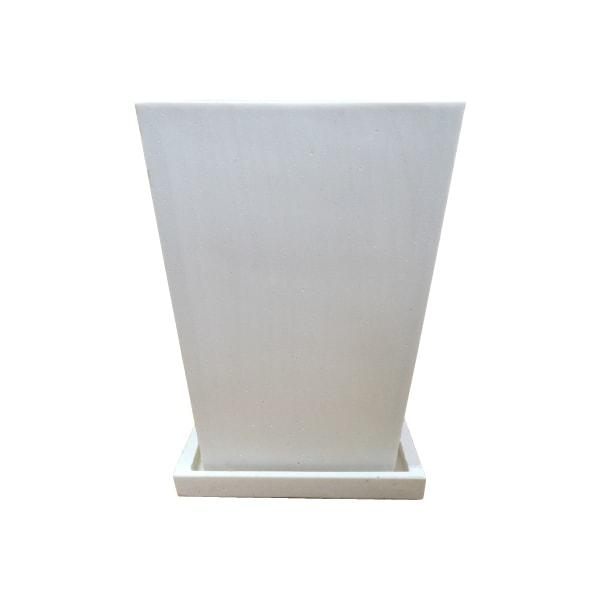 植木鉢 おしゃれ ストーンポット ST2153-240 8号(24cm) / 陶器鉢 白 石 四角