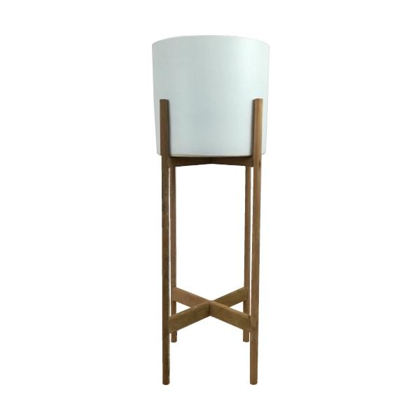 植木鉢 おしゃれ 木製スタンド シンプルポット ST3330-230 8号(23cm) / 陶器鉢 白 脚付き 鉢カバー