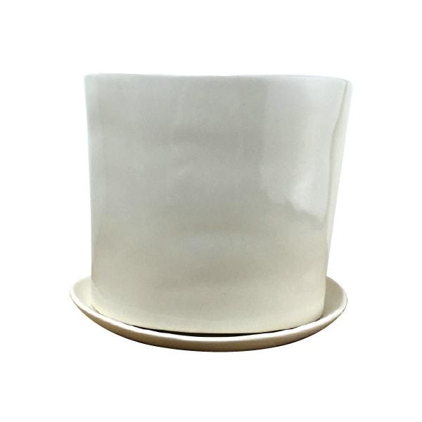 アイボリーホワイトのシンプルモダンポット。おしゃれな植木鉢。 植木鉢 おしゃれ シンプルポット ST9325-130 4号(13cm) / 陶器鉢 白