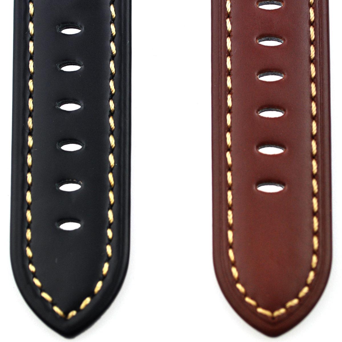 腕時計ベルト 腕時計バンド 替えストラップ 社外品 汎用レザーベルト 革ベルト 取付幅24mm 適用: TIMEX タイメックス (尾錠)ピンバックル付き [ Eight - ELB151 ]