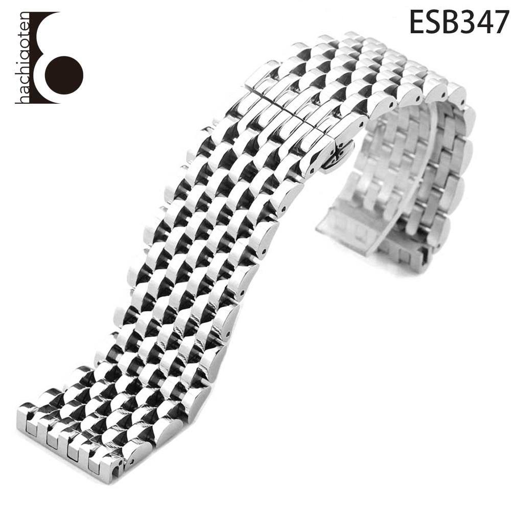 腕時計ベルト 腕時計バンド 替えストラップ 社外品 汎用ステンレスベルト 取付幅24mm 適用: EMPORIO ARMANI エンポリオ・アルマーニ [AR0314/AR0315/AR0263/AR0624/AR0320] (尾錠)Dバックル付き [ Eight - ESB347 ]