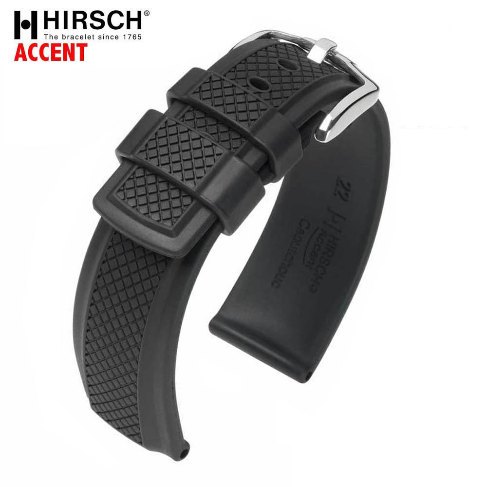 HIRSCH ヒルシュ ACCENT(アクセント) Black 腕時計ベルト カウチューク(天然ゴム) 20mm/22mm/24mm