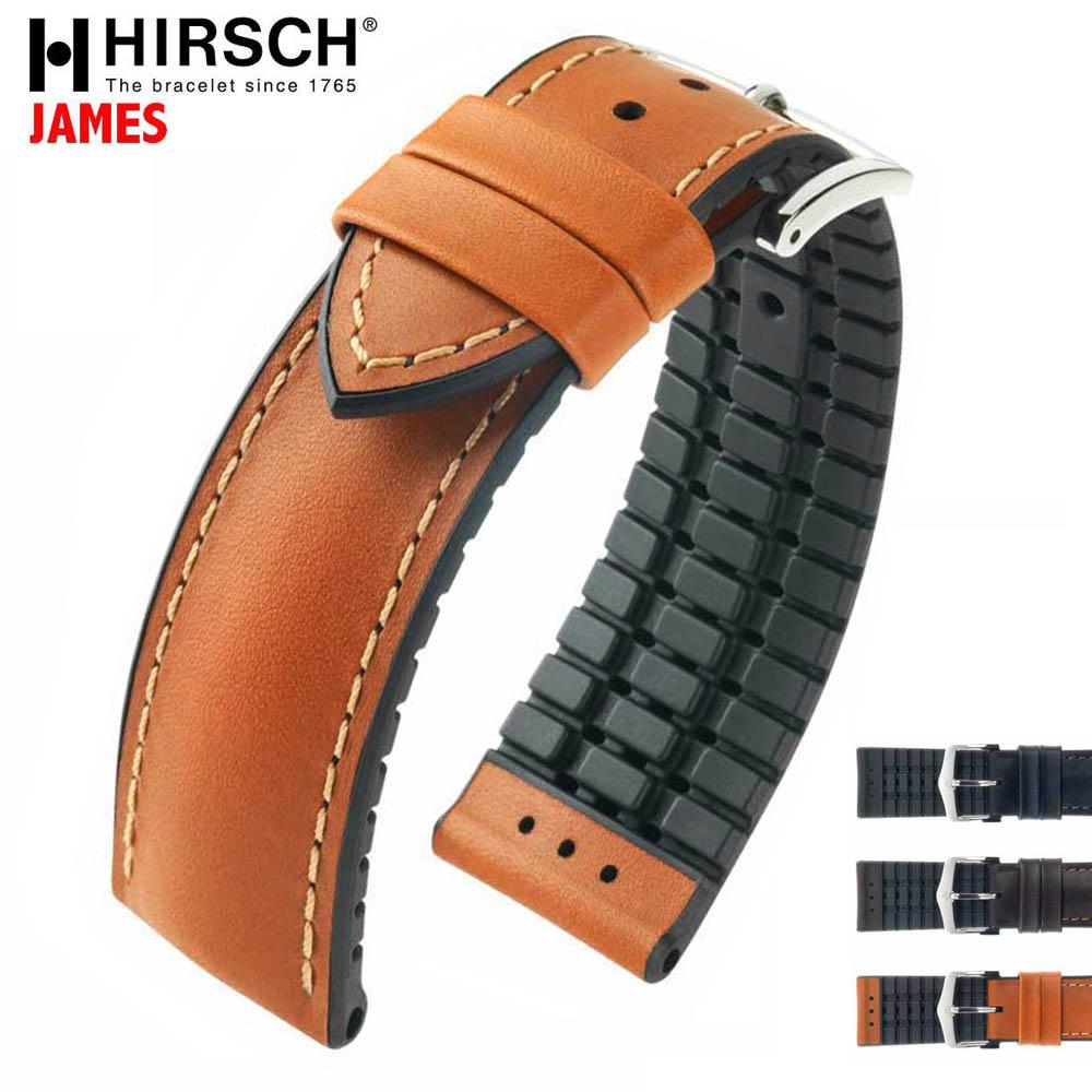 HIRSCH ヒルシュ JAMES(ジェームス) 3色 腕時計ベルト 表カーフレザー 裏カウチューク(天然ゴム) 20mm/22mm