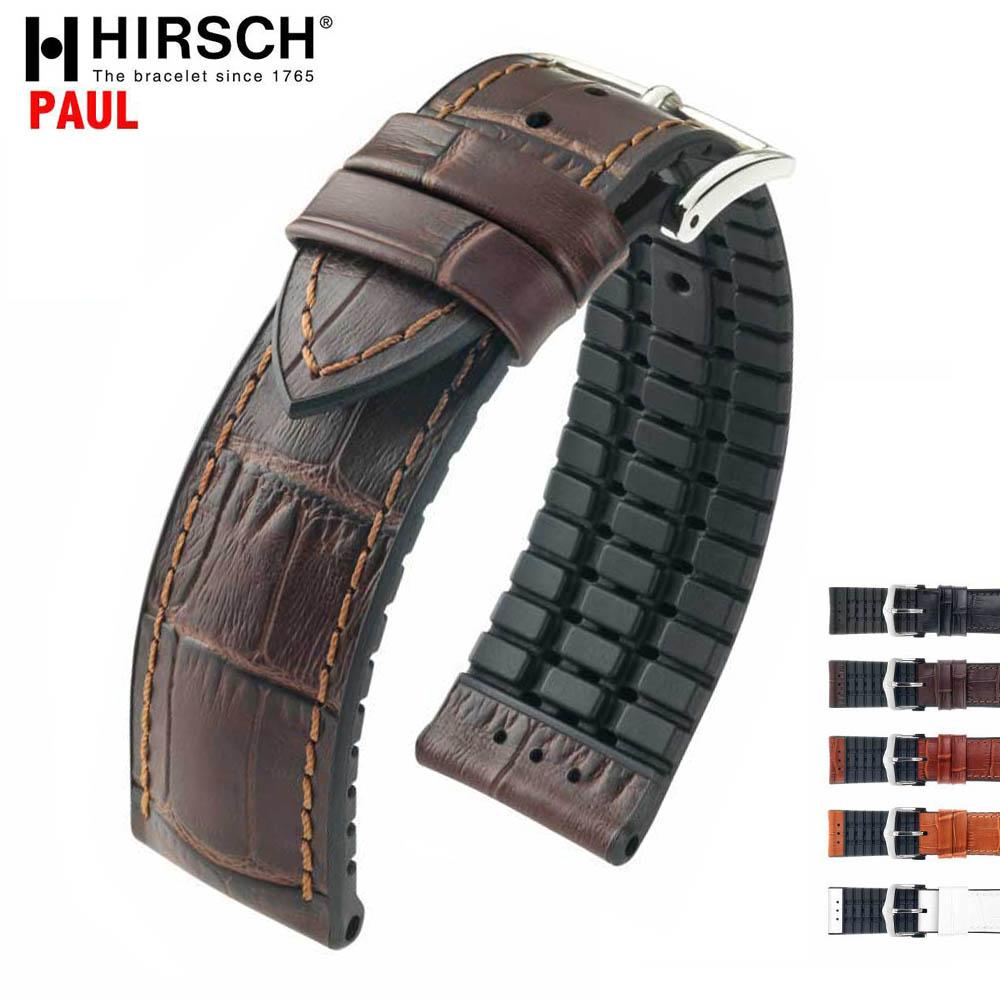 HIRSCH ヒルシュ PAUL(ポール) 5色 腕時計ベルト カーフレザー アリゲータ型押 カウチューク(天然ゴム) 18mm/20mm/22mm/24mm/ホワイト/ブラウン/ブラック