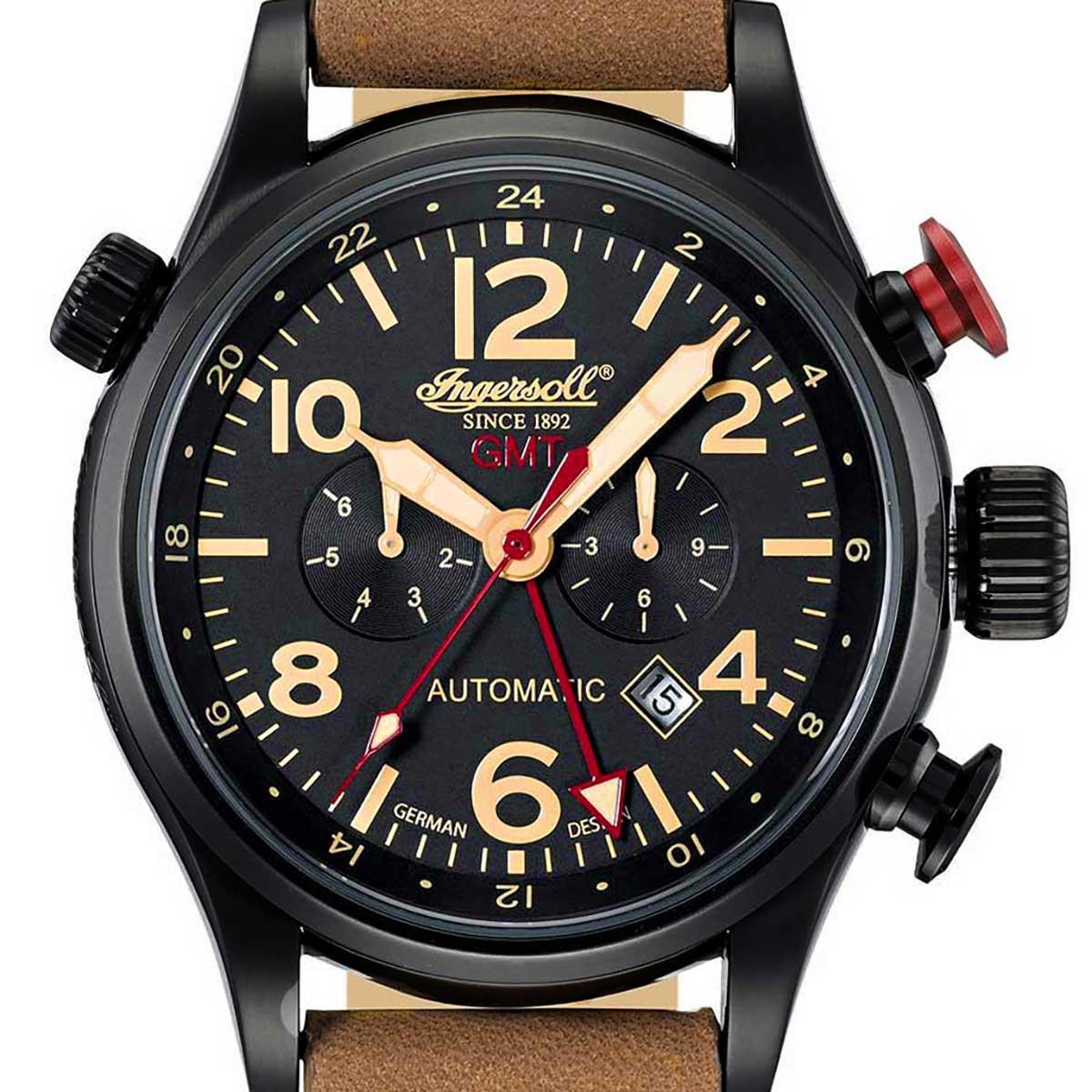 【残り1点】Ingersoll インガソール/インガーソル 自動巻き(手巻き機能あり) 腕時計 [IN3218BBK] 並行輸入品  カレンダー GMT(ワールドタイム)