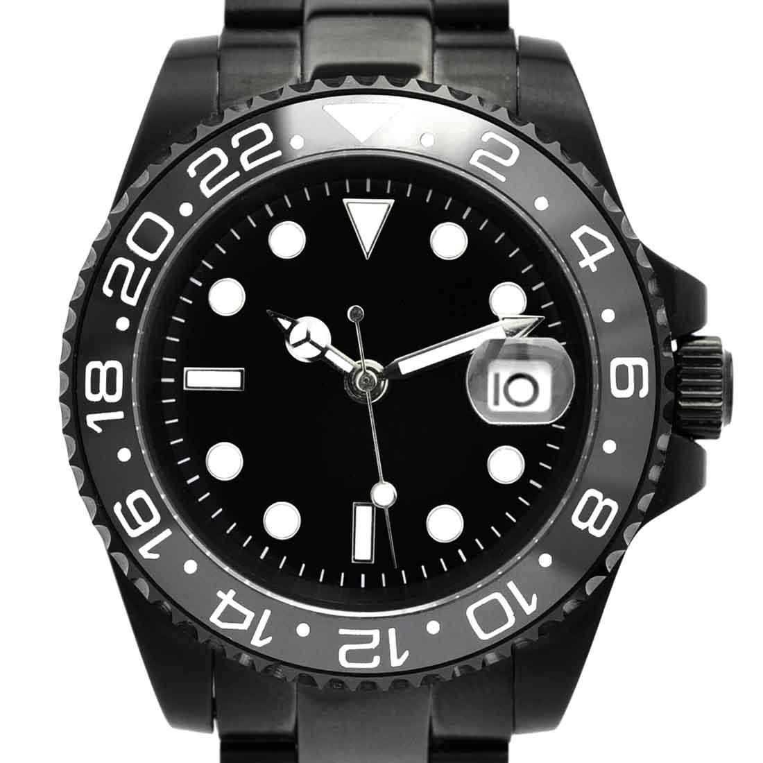 56b3aa8637 NOLOGOノーロゴ機械式腕時計自動巻オートマチックGMTマスターブラックPVD[NL-063BB4ASG