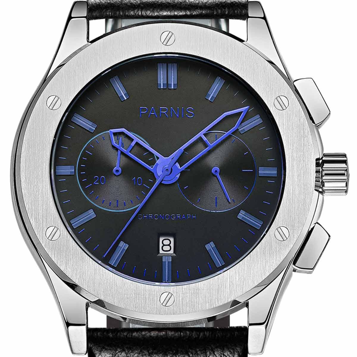 【NEW】PARNIS パーニス クォーツ 腕時計 [P6025-S5EL-BkblBK] 並行輸入品 純正ケース メーカー保証12ヶ月