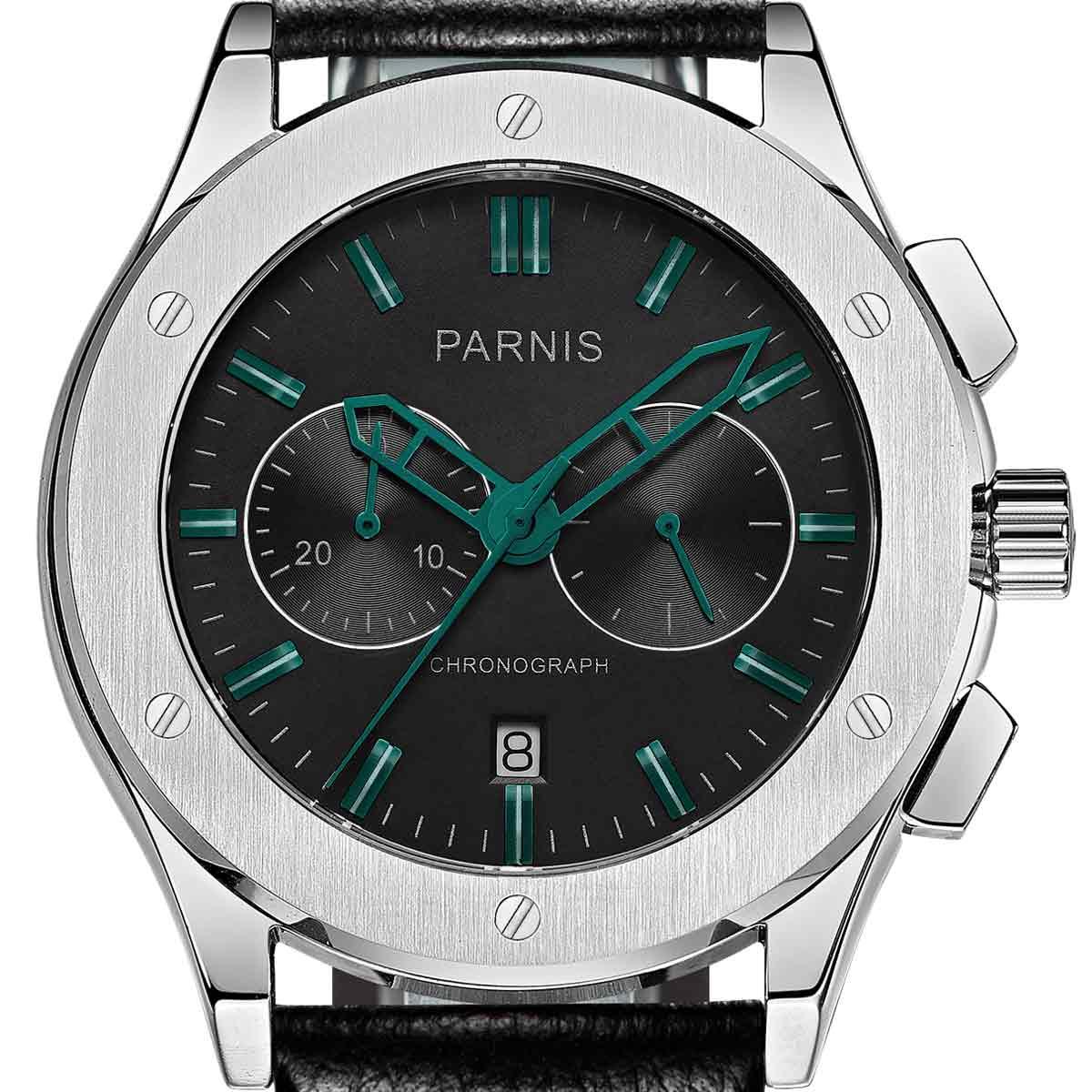 【NEW】PARNIS パーニス クォーツ 腕時計 [P6025-S5EL-BkgrBK] 並行輸入品 純正ケース メーカー保証12ヶ月