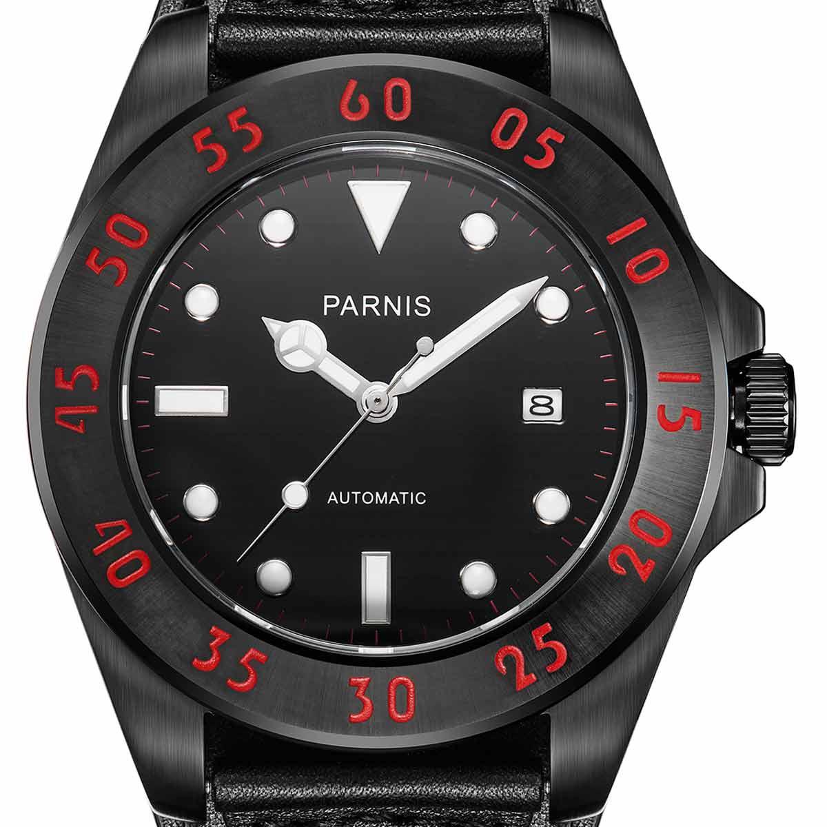 【NEW】PARNIS パーニス 自動巻き 腕時計 [PA6028-S3AL-BKrBK] 並行輸入品 純正ケース メーカー保証12ヶ月