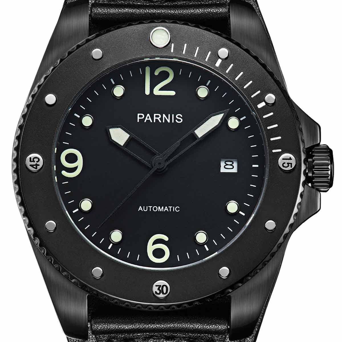 【NEW】PARNIS パーニス 自動巻き 腕時計 [PA6029-S3AL-BKBK] 並行輸入品 純正ケース メーカー保証12ヶ月