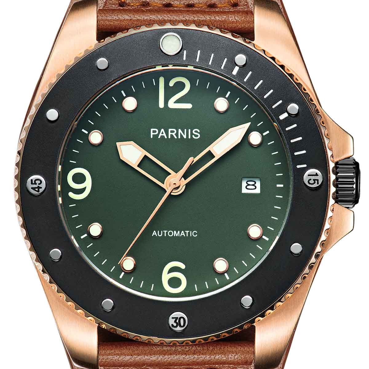 【NEW】PARNIS パーニス 自動巻き 腕時計 [PA6029-S3AL-RGBR] 並行輸入品 純正ケース メーカー保証12ヶ月