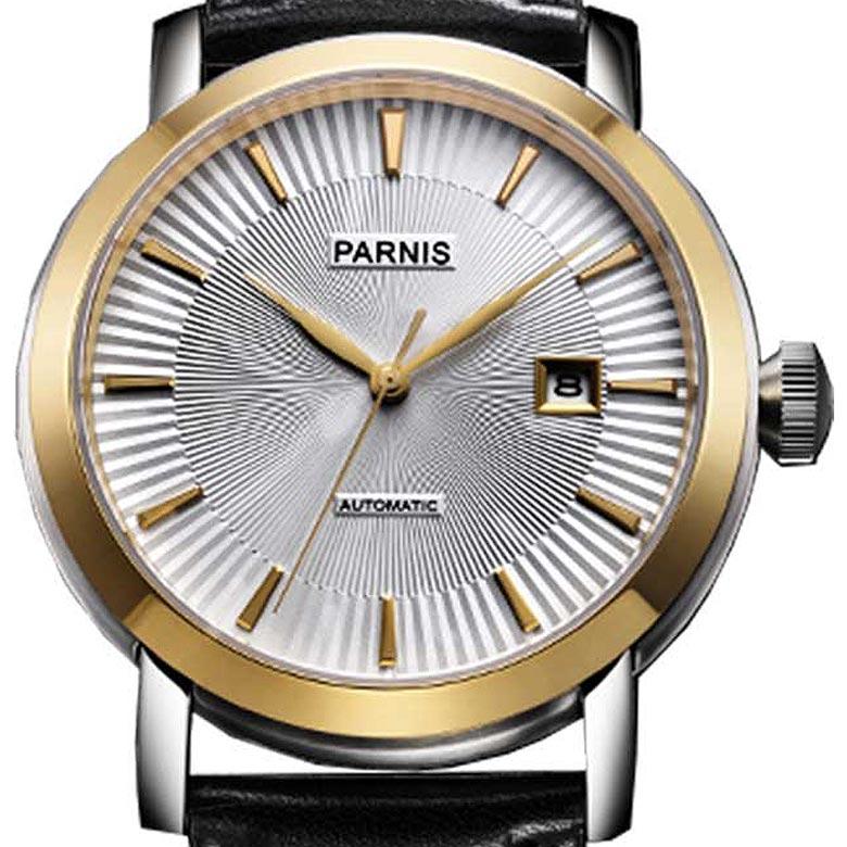 【残り1点】【NEW】PARNIS パーニス 自動巻き 腕時計 [P6031-S3AL-YGBK] 並行輸入品 純正ケース メーカー保証12ヶ月