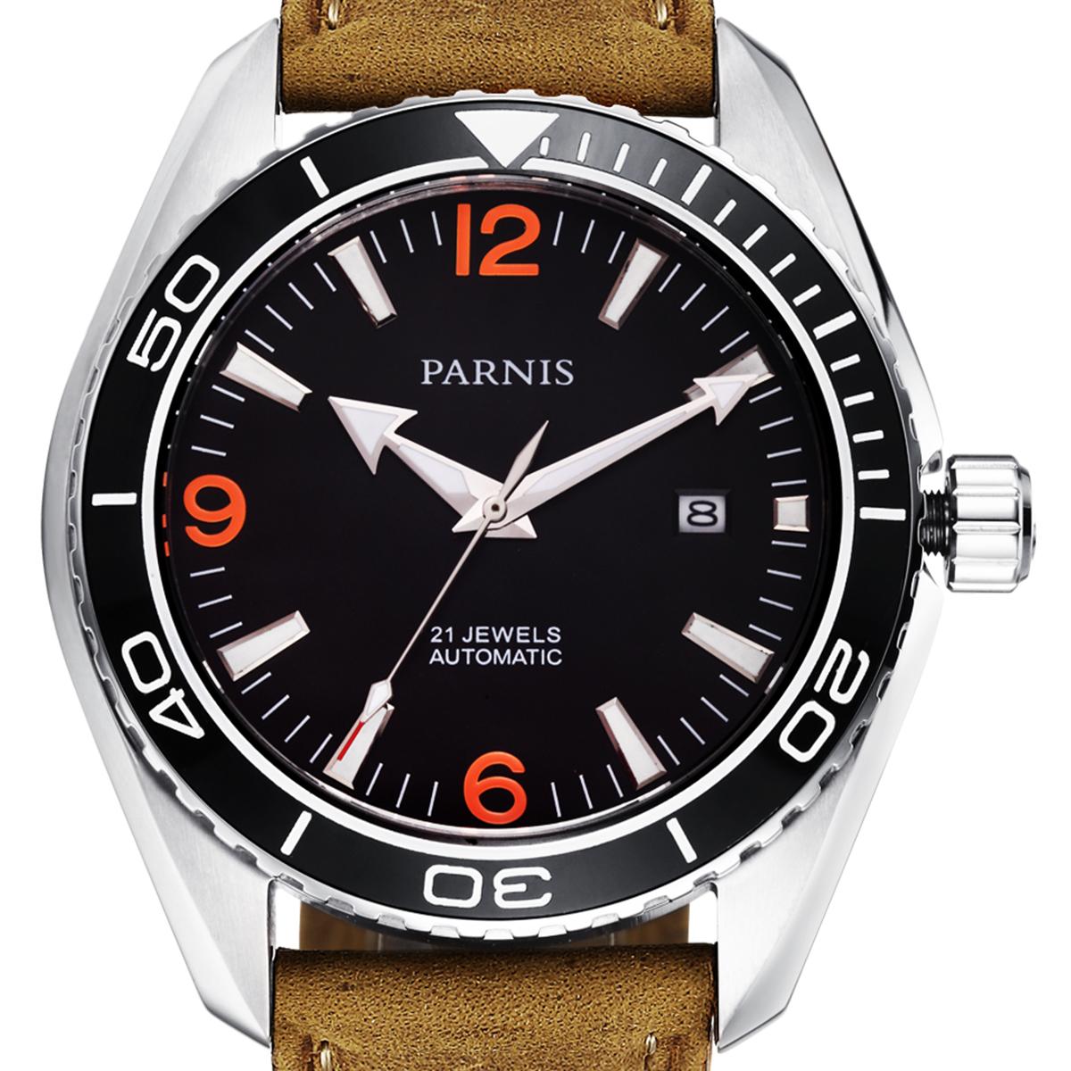 【NEW】PARNIS パーニス 自動巻き 腕時計 [PA6032-S3AL-SVBR] 並行輸入品 純正ケース メーカー保証12ヶ月