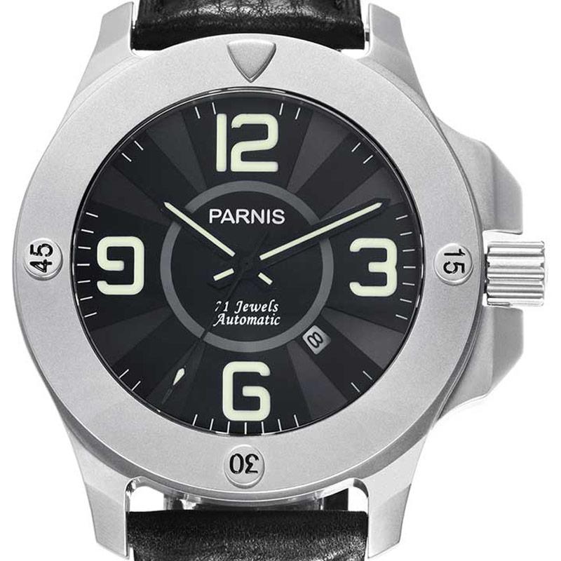 【NEW】PARNIS パーニス 自動巻き 腕時計 [PA6035-S3AL-SVBK] 並行輸入品 純正ケース メーカー保証12ヶ月