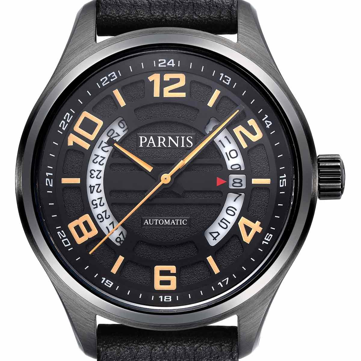 【NEW】PARNIS パーニス 自動巻き 腕時計 [PA6052-S3AL-BKorBK] 並行輸入品 純正ケース メーカー保証12ヶ月