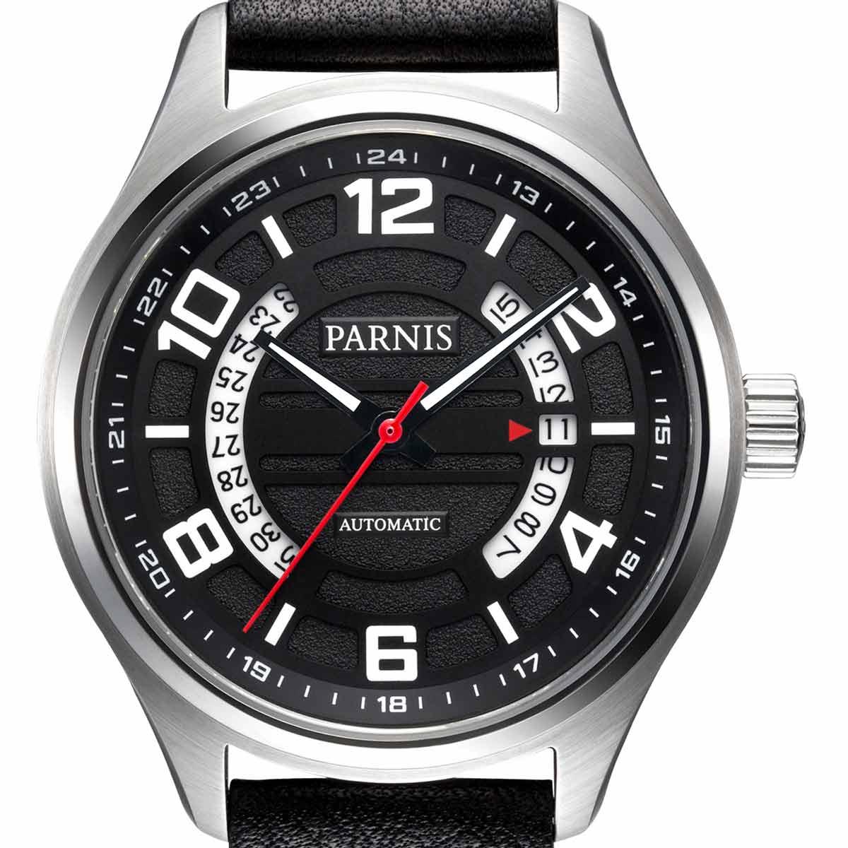 【NEW】PARNIS パーニス 自動巻き 腕時計 [PA6052-S3AL-SVBK] 並行輸入品 純正ケース メーカー保証12ヶ月