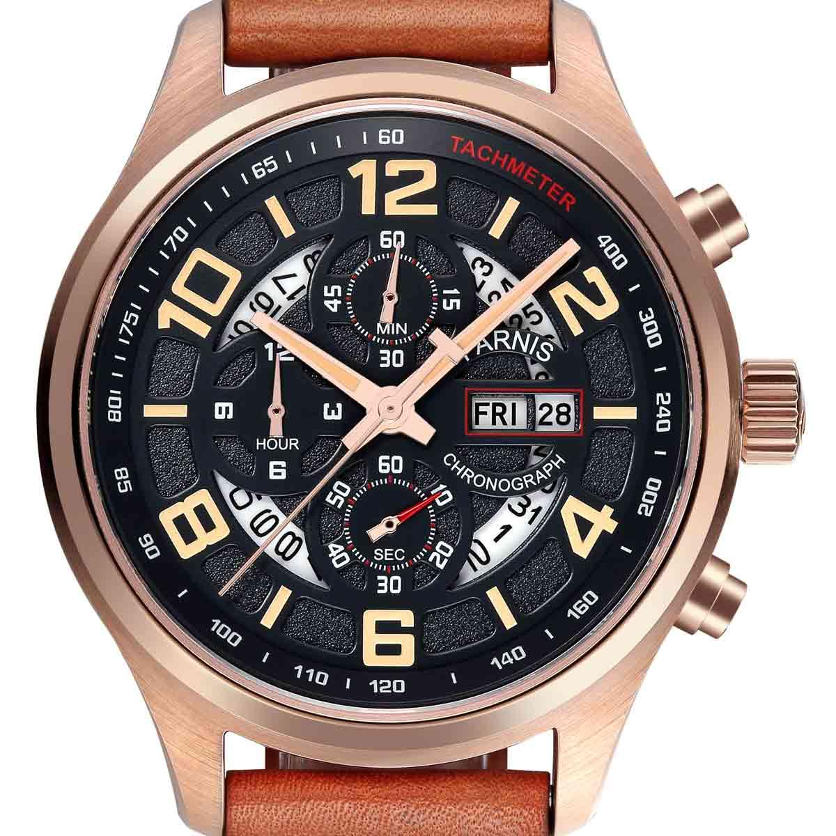 【残り1点】【NEW】PARNIS パーニス クォーツ 腕時計 [PA6053-S6EL-ORBR] 並行輸入品 純正ケース メーカー保証12ヶ月